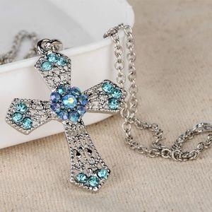 Jewelry - Rhinestone Cross Sweater Chain